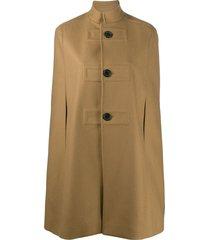 saint laurent high collar cape coat - blue