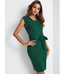 yoins cordones con cinturón verde diseño redondo cuello manga corta vestido