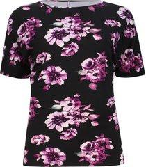 camiseta manga corta estampado flores color negro, talla xs