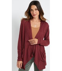 maurices womens red textured hooded cardigan