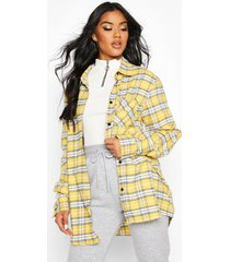 oversized geruite boyfriend blouse, geel