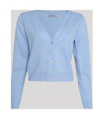 cardigan de tricô feminino básico com botões azul claro