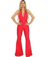 macacã£o dress code moda flare vermelho - vermelho - feminino - poliã©ster - dafiti