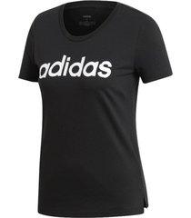 camiseta adidas linear feminina ei4569, cor: preto/branco, tamanho: g - preto - feminino - dafiti