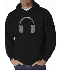 la pop art men's word art hoodie - headphones - 63 genres of music