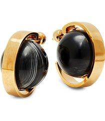a lj goldtone sphere earrings