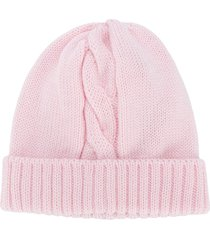siola cable-knit merino beanie - pink
