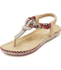 sandali bassi bohemien da spiaggia con elastici floreali e perline a forma t infraditi