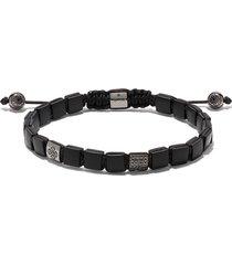 shamballa jewels 18kt black gold and diamond lock beaded bracelet
