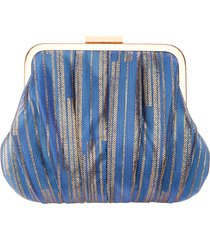 nina metallic stripe frame clutch - blue