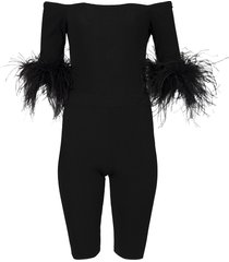 ostrich feather jumpsuit black