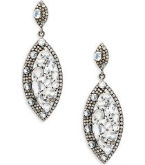 rainbow moonstone, champagne diamond and sterling silver drop earrings