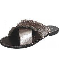 sandalia plana via rosmini - gris