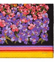 gucci degradé floral print scarf - black