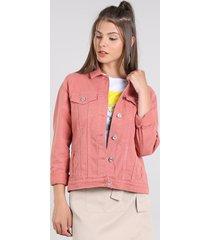 jaqueta de sarja feminina com bolsos rosa escuro