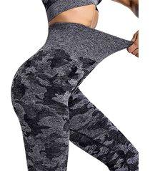 leggings de cintura alta con súper estiramiento de camuflaje