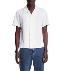 men's rag & bone avery knit short sleeve button-up camp shirt, size xx-large - white