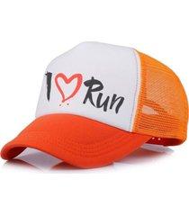 boné trucker corrida estampado snapback laranja - i love run branco .