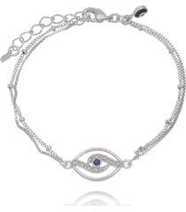 pulseira lua mia joias olho grego moderno da sorte banho ródio