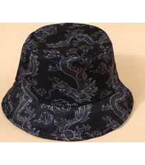 chinese style dragon print casual bucket hat