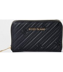 river island womens black ri embossed ziparound purse