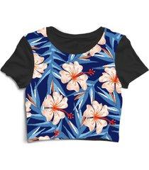 blusa blusinha cropped tshirt camiseta flores floral flor florida rosas azul