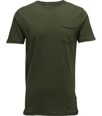 alder basic chest pocket tee - gots t-shirts short-sleeved grön knowledge cotton apparel