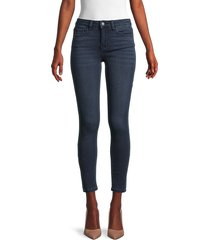 flying monkey women's mid-rise ankle skinny jeans - dark blue - size 25 (2)