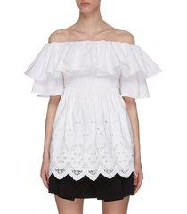 ruffle broderie trim off shoulder cotton blouse