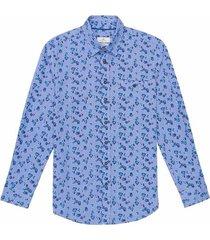 camisa en lino manga larga estampada slim fit para hombre 92790