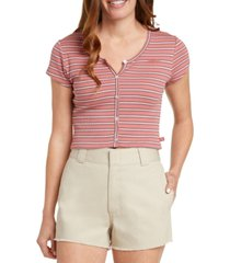 dickies juniors' striped ribbed-knit cropped top