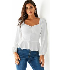 yoins white ruched pleated design square neck blouse