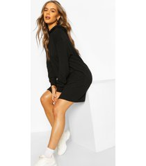 quilted hooded sweat dress, black