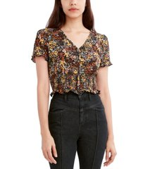 bcbgeneration printed button-front smocked top