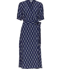leonora wrap dress s knälång klänning blå tommy hilfiger