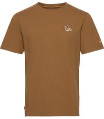 boot logo tee t-shirts short-sleeved brun timberland