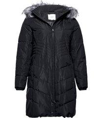 winter jacket plus faux fur collar gevoerde lange jas zwart zizzi