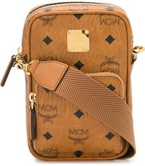 mcm all-over logo messenger bag - brown
