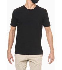 camiseta regular básica malha pesada exc - preto - pp