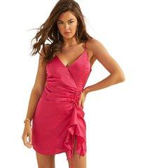vestido sl chrissy dress bright smooth rosado guess