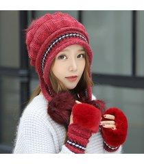 cappello da donna abbinato in maglia e berretto invernale con cappello orecchio flaps beanie hat con pelliccia sintetica pom pom