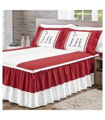 colcha matelada bordada cama casal padráo 05 peças vermelho