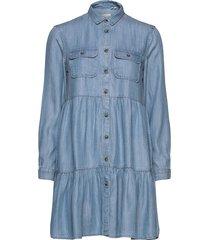 tiered shirt dress kort klänning blå superdry