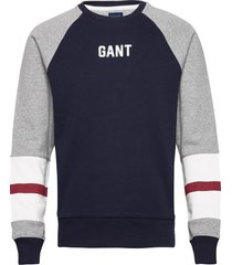 d1. logo c-neck sweat sweat-shirt trui blauw gant