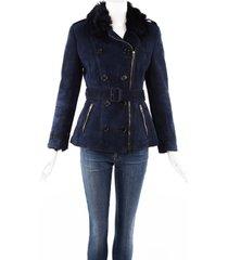 burberry london blue shearling leather belted jacket blue sz: custom