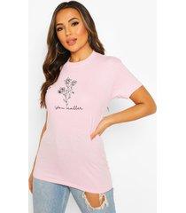 gebloemd t-shirt met 'you matter'-slogan in kleine maten, lichtroze