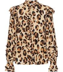 leo frill blouse blouse lange mouwen bruin fabienne chapot
