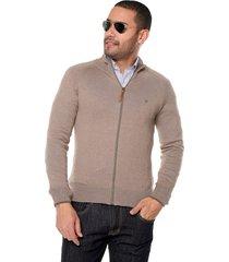 sweater café 105 preppy m/l dos colores c/alto cremallera