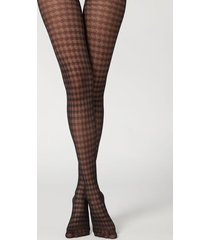 calzedonia houndstooth 50 denier mesh tights woman black size 3/4