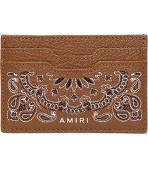 leather bandana print card holder brown